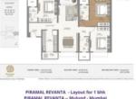 Piramal Revanta Residences for sale in mulund mumbai - layout of 3 bhk apartment