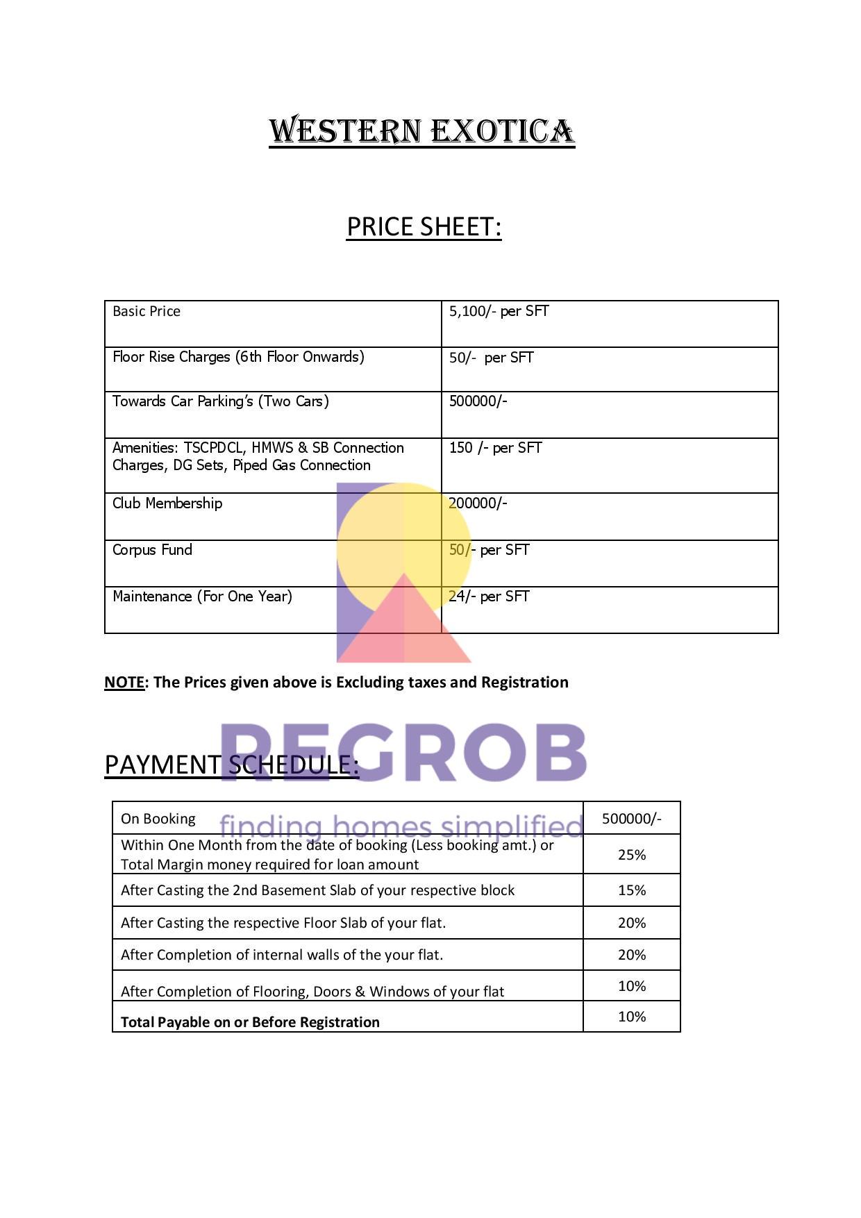 Western Exotica Price Sheet