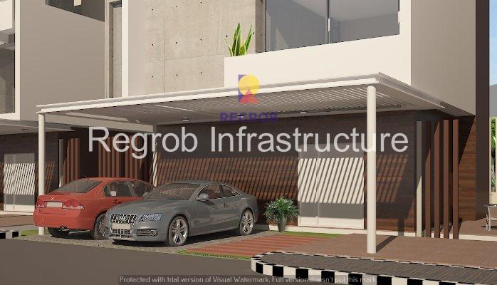 sark three mokila hyderabad - parking ground in front of a villa