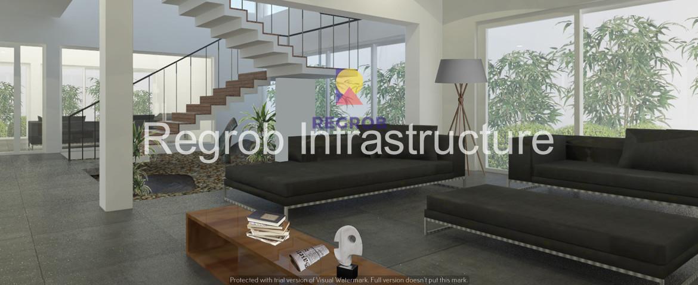 sark three mokila hyderabad - villa interior - living room - way to first floor